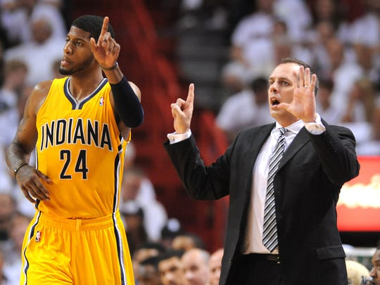 Pacers Paul George and head coach Frank Vogel signal to their teammates during their game against the Heat.   Indiana Pacers vs. Miami Heat in game two of the Eastern Conference Finals  May 24, 2013.