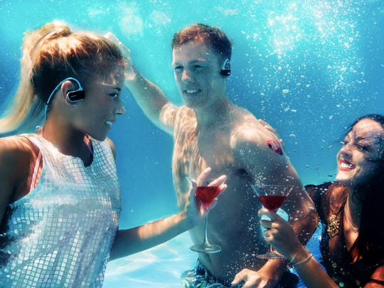 The hands-free and waterproof Sony Sports MP3 Player resembles a pair of earbuds.