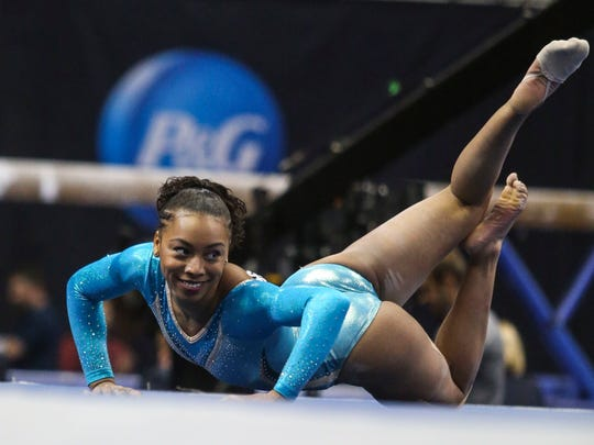 Margzetta Frazier of Erial competes on the floor exercise during the P&G Gymnastics Championships on Aug. 20.
