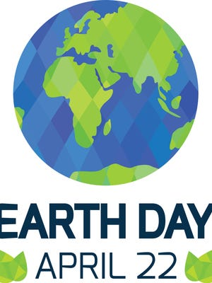 Earth Day card on white background.