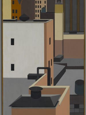 "The ""American Moderns"" exhibit at the Shelburne Museum includes George Copeland Ault (American, 1891-1948). Manhattan Mosaic, 1947."