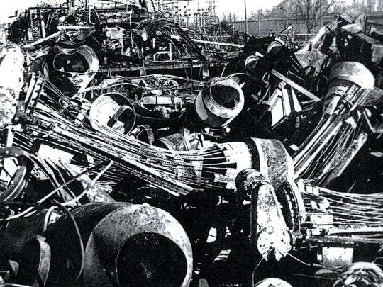 Blue Lake Producers cannery in West Salem is seen after it was destroyed by fire on Dec. 31, 1944.