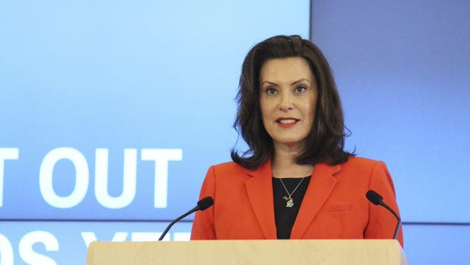Gov. Gretchen Whitmer speaks during a coronavirus briefing on Monday, May 4, in Lansing. Whitmer said Wednesday, Sept. 16, that she would not take any action to prevent political rallies from taking place in the state.
