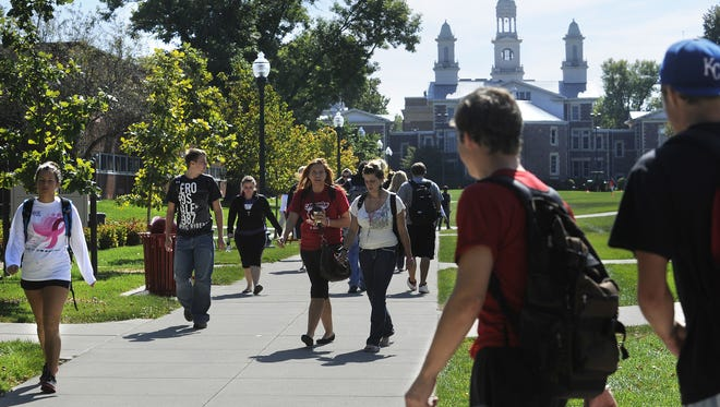 Students walking on USD campus.