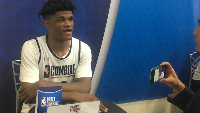 Alize Johnson talks to a reporter Thursday at the NBA draft combine in Chicago.