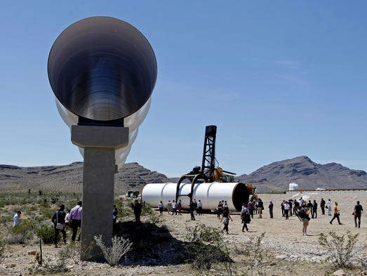 Hyperloop tubes are displayed during the first test