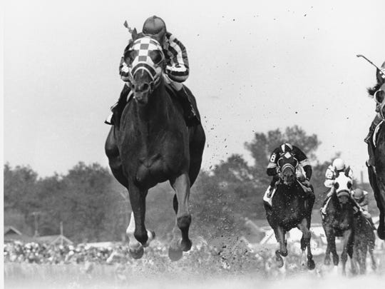 Jockey Ron Turcotte rides Secretariat during the 99th Kentucky Derby at Churchill Downs in Louisville, Ky. on May 5, 1973.  (AP Photo/Bob Daugherty)