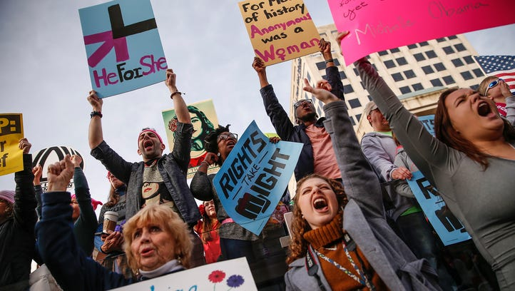 Thousands attend the Women's March Indianapolis rally, a sister rally of the Women's March on Washington, on the west side of the Indiana Statehouse in Indianapolis on Saturday, Jan. 21, 2017.