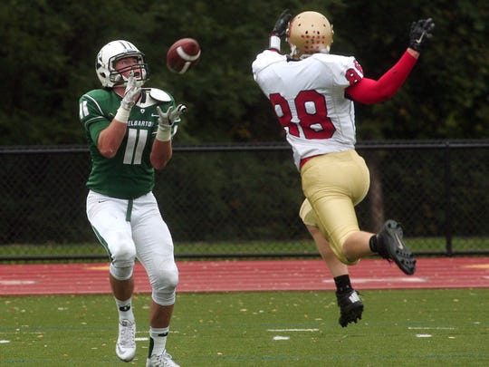 Delbarton receiver Samuel Johnson pulls in a pass for a first half touchdown vs Mt Olive during their Saturday football matchup. October 3, 2015, Morristown, NJ.