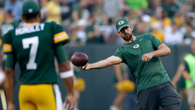 Green Bay Packers quarterback Aaron Rodgers  throws the ball around before the game against the Oakland Raiders Thursday, August 18,, 2016 at Lambeau Field.