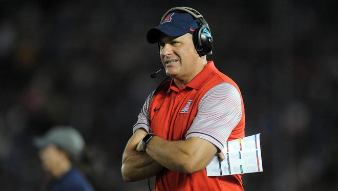 October 1, 2016: Arizona Wildcats head coach Rich Rodriguez reacts during a stoppage in play against the UCLA Bruins during the first half at Rose Bowl.