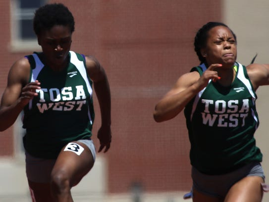 Wauwatosa West's Mercy Ndon (left) and Azya McLin (right)