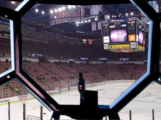 Joe Louis Arena, seen through the TIE Fighter.