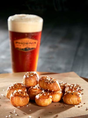 The pretzel bites at Phoenix Ale Brewery Central Kitchen are thick, bite-size nuggets.