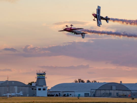 The Friday Night air show features twilight aerobatics,