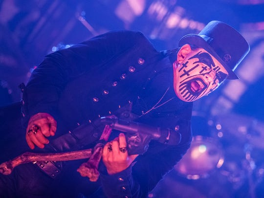 King Diamond performs at Ak-Chin Pavilion during the