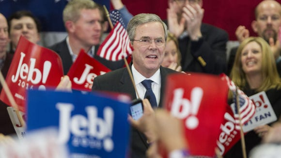 Jeb Bush addresses his supporters at his primary night