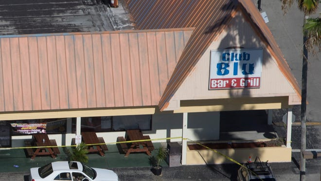 The crime scene surrounding Club Blu in Fort Myers, Fla.