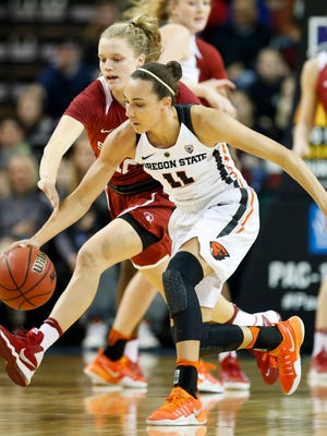 Oregon State senior guard Gabby Hanson (No. 11) will be playing in her fourth NCAA tournament.