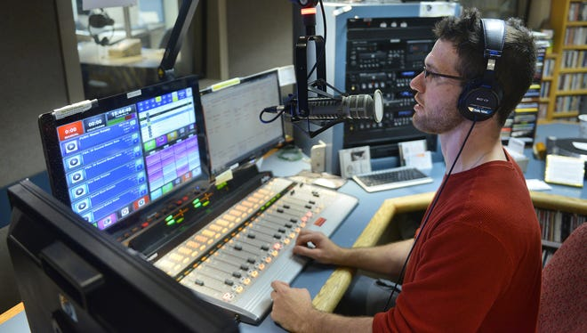 Community volunteer DJ Bobby Wyman does an on-air stint on May 19, 2015, at KVSC-FM, the St. Cloud State University campus radio station.