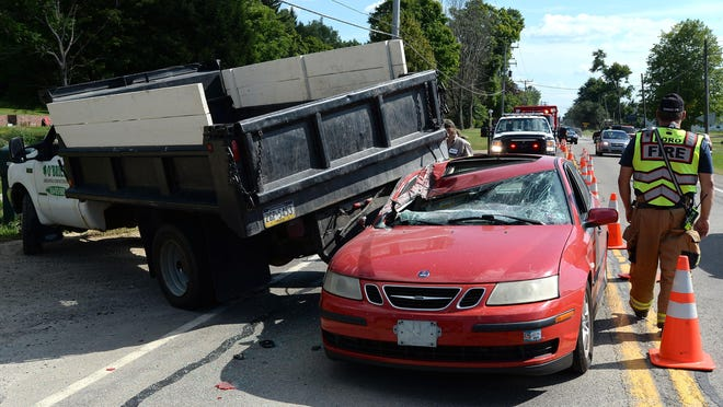 The drivers of a landscaping truck and Saab sedan were not injured in a collision Friday on Edinboro Road near Crane Road in Washington Township.