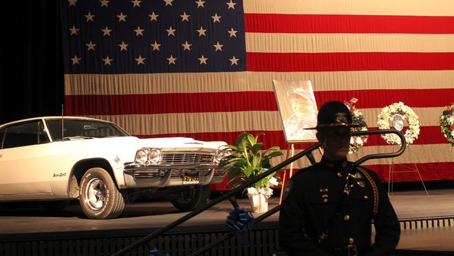 Doug Carney's Chevrolet Impala Super Sport was on stage for his memorial at the Redding Civic Auditorium on Sunday morning.