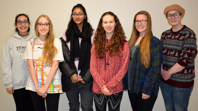From left, Vestal High School students Tomiko Nicholson, Maya Madden, Urwah Imran, Santa Barbara Maslar, Meghan Eames and Carley Zindle.