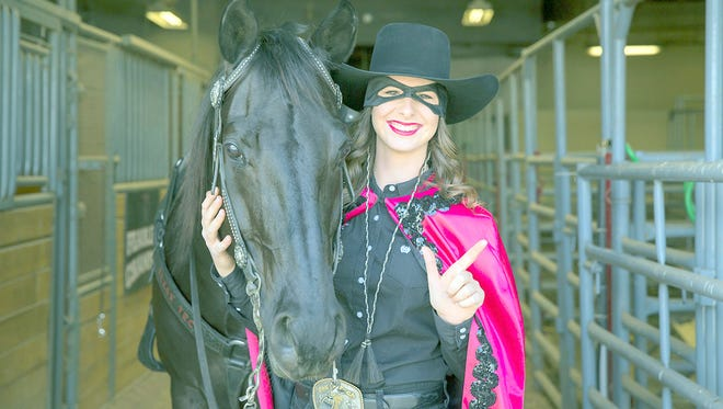 """Fearless Champion, the 13-year-old mascot of Texas Tech University, and """"Masked Rider"""" Lyndi Star will appear at Ruidoso Downs Race Track for """"Red Raider Weekend"""" June 2."""
