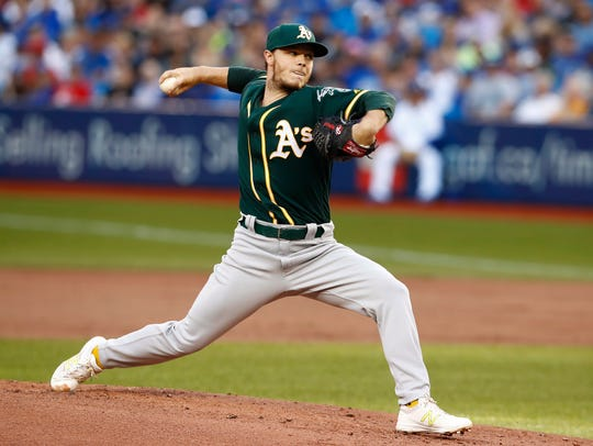Oakland Athletics starting pitcher Sonny Gray throws
