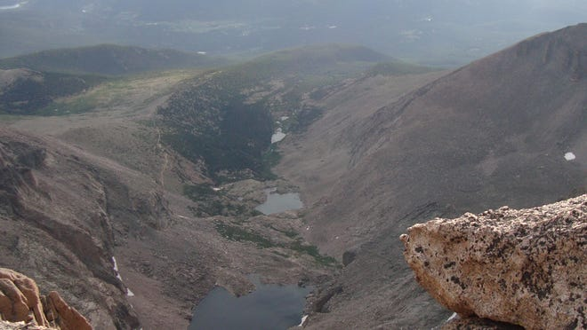 Chasm Lake  A look down at Chasm Lake from the top of Longs Peak. (NPS photo taken 8.13.11 by CH)