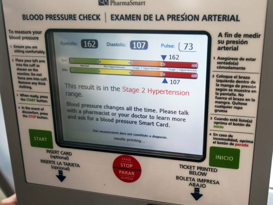The screen of the new health monitor at Minnich's Pharmacy, in York, that checks blood pressure and is free.