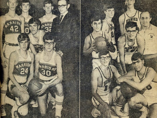 The 1969 YCIAA championship game was played between Susquehannock, right, and Hanover. The Nighthawks prevailed, 70-56.