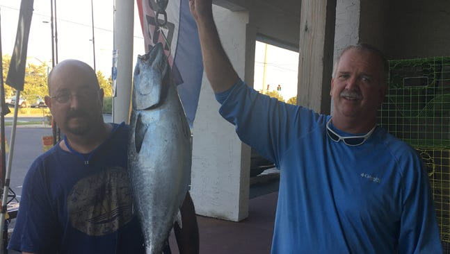 The record fish being weighed at Hook 'Em and Cook 'Em in Rehoboth Beach, DE
