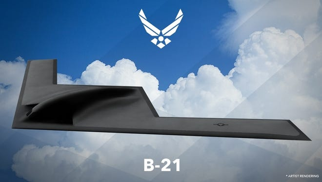 Air Force artist rendering of the B-21 Raider. The next generation bomber is designated as B-21 in recognition of it being the first bomber of the 21st century.