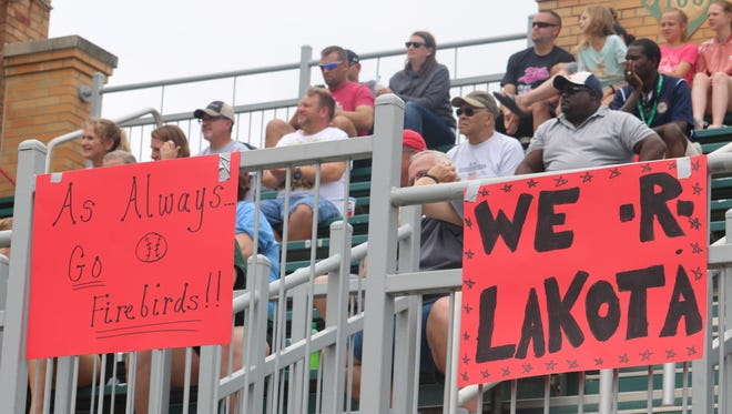 Lakota West fans show their support for the Firebirds with signs for the Division I state championship game at Firestone Stadium Saturday June 2, 2018.