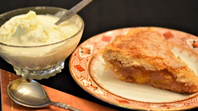 Homemade clotted cream, the perfect topping for fruit pies and other desserts.