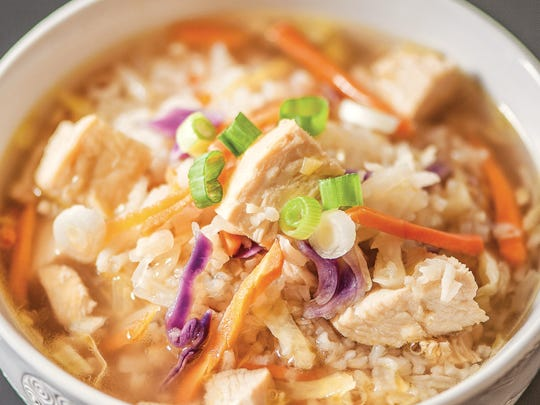 Asian Chicken and Rice Soup comes together quickly when chicken, rice and veggies are prepped ahead.