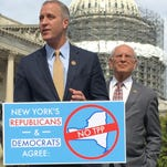 Democratic Rep. Sean Maloney speaks out against the Trans-Pacific Partnership at a Capitol Hill press conference on March 23, 2016. Behind Maloney is Democratic Rep. Paul Tonko.