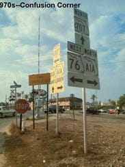 Confusion Corner as it looked in the 1970s.