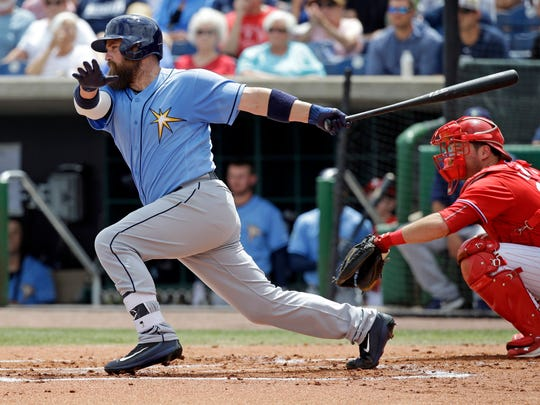 Tampa Bay Rays Derek Norris bats against the Philadelphia Phillies in a spring training baseball game, Friday, March 31.