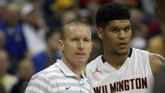 Wilmington head coach Mike Noszka (left) with Jarron