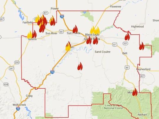 Prescribed burns in Cascade County, according to the Montana Burn Permit website.