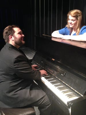 "Albert Peterson, played by Adam James VandenHeuvel, plays the piano for Rose Alvarez, played by Kira Liesch, during rehearsal for ""Bye Bye Birde,"" which opens Thursday."