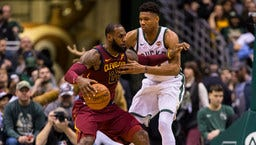 Cleveland Cavaliers forward LeBron James drives for the basket against Milwaukee Bucks forward Giannis Antetokounmpo during the first quarter.