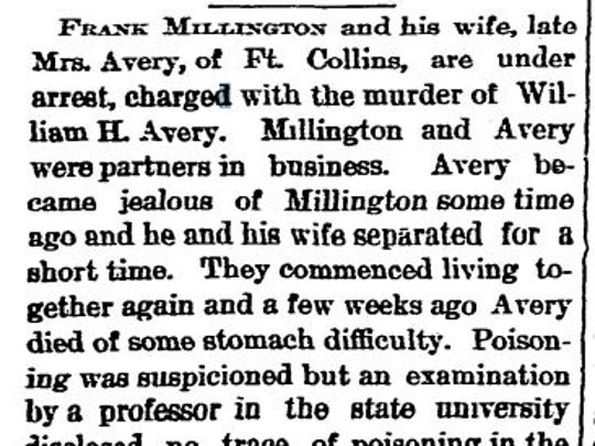 A July 17, 1890 newspaper article in the Aspen Daily Chronicle details the arrest of Mrs. Mary Avery Millington and her new husband Frank Millington.