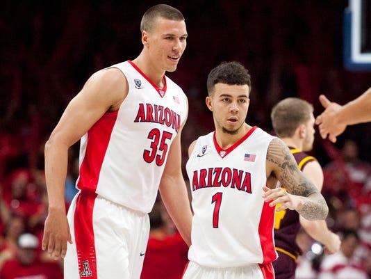 NCAA Basketball: Arizona Kaleb Tarczewski and Gabe York