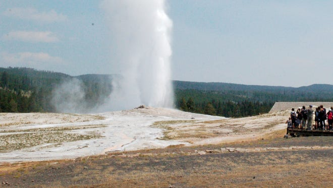 Old Faithful erupts on Aug. 4, 2018 in Yellowstone National Park. The geyser puts on its show about every 90 minutes.