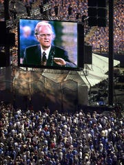 Billy Graham crusade for Ray Waddle's book story in 2001.