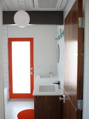 One of three bathrooms is seen inside Desert Eichler #1 in Palm Springs, Calif. on Thursday, February 12, 2015. The main home is 2,177 sq. ft. and also features a 400 sq. ft. atrium and a 352 sq. ft. detached casita.