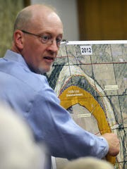 Steve Tryon of the Bureau of Land Management speaks at the Clay County Commissioners' Court in May 2014.